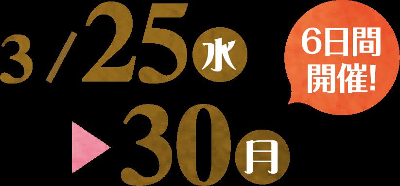 2020/3/25(水)~3/30(月) 6日間開催!